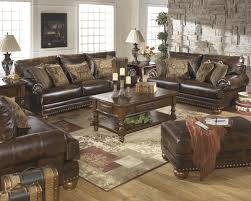 Antique Living Room Furniture Brown Leather Durablend Antique 2pc Sofa Package By