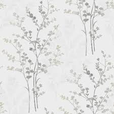 fern motif arthouse wallpaper in silver white and grey