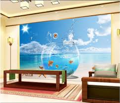 sea wall mural decoration promotion shop for promotional sea wall custom mural 3d room wallpaper sea fish tank home decoration painting 3d wall murals wallpaper for living room walls 3 d