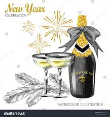 Luxury Wine Glasses Watercolor Retro Illustration Golden Luxury Style Stock