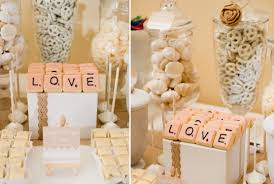 rustic chic winter wedding dessert table scrabble feature u2013 cw