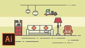 illustrator tutorial living room flat design illustrator flat