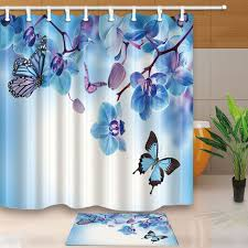 Turquoise Shower Curtains Warm Tour Turquoise Butterfly Polyester Fabric Bathroom Shower