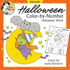 halloween color number cute witch coloring worksheet mindy