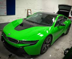 light green bmw bmw i8 wrapped in green