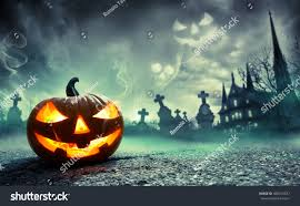 mystical halloween background pumpkin burning graveyard ghost nightmare stock photo 480373537