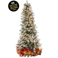 8ft 2 4m slim snow flocked spruce pre lit christmas tree with