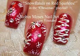 red glitter nails white snowflakes and easy christmas trees nail