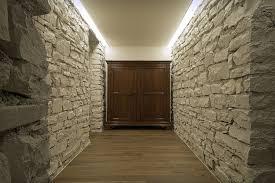 wood and stone architecture waplag corridor vintage house design