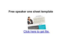 free speaker one sheet template google docs
