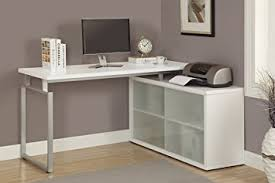 L Shaped Computer Desk White Monarch Hollow L Shaped Desk With Frosted Glass