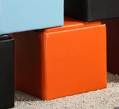 Vinyl Orange Ottoman Cube Ottomanssale