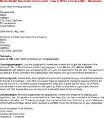 Mental Health Counselor Cover Letter cover letter for mental health mental health counselor cover