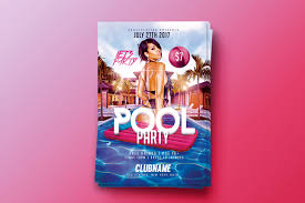 summer pool party psd flyer template on behance
