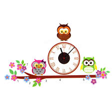 owl diy pvc art adhensive wall clock home living room bedroom