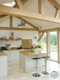 contemporary oak framed curved kitchen interior