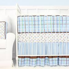 gabe blue and brown baby boy crib bedding caden lane