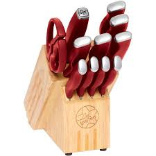 walmart kitchen knives fieri 12 inlay logo knife block set walmart com