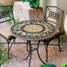 Remarkable Mosaic Bistro Table With Knf Garden Designs 30 Iron