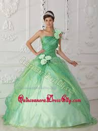 one shoulder beading flower apple green quinceanera gown