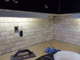 Brick Backsplash Kitchen Tumbled Ivory Travertine Brick Moxaics 2