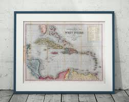Map Home Decor Caribbean Map Etsy