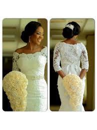mermaid 3 4 length sleeves lace plus size wedding dresses bridal