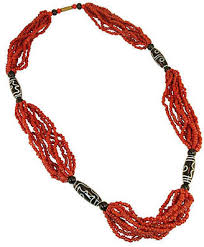 beaded coral necklace images Red and white bead necklace shopstyle jpg