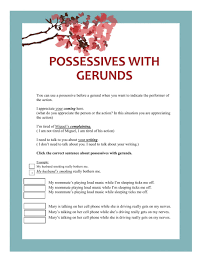 possessive with gerunds interactive worksheet