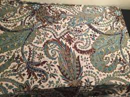 threshold paisley green blue cream brown fabric shower curtain