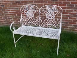 Folding Metal Outdoor Chairs Cream Ornate Folding Metal 2 Seater Garden Bench Garden Furniture