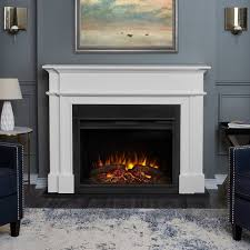 large white electric fireplace harlan grand with solid wood and