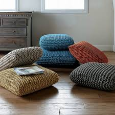 knit floor cushion large floor pillow pouf ottoman looping home