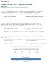 quiz u0026 worksheet using synonyms antonyms u0026 analogies study com