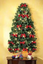 christmas tree with white lights and red bows amazon com lighted christmas wall tree home kitchen
