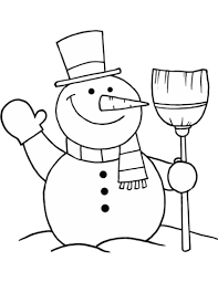 snowman broom coloring free printable coloring pages