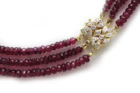 beaded necklace clasps images 3 strand tourmaline bead necklace with diamond and 14k yellow gold jpg