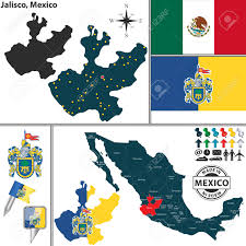 Map Of Guadalajara Mexico by Vector Map Of State Jalisco With Coat Of Arms And Location On