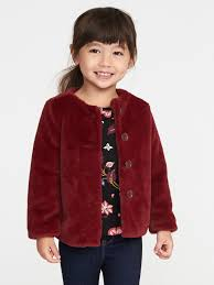 red faux fur coat for toddler girls old navy