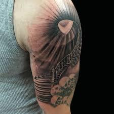 dark age tattoo studio tattoos religious staircase sleeve