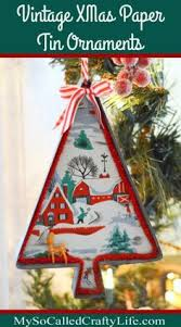 Retro Paper Christmas Decorations - how to make unique christmas ornaments out of old paper and trim