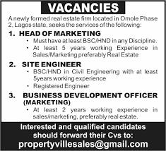 vacancies at a real estate firm jobs vacancies nigeria