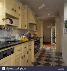 Black Galley Kitchen Black And White Chequerboard Floor In Galley Kitchen With Pastel
