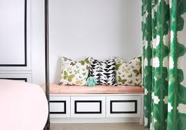 black and white built in bench with blush pink cushion hollywood