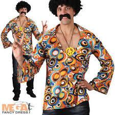 Halloween Hippie Costumes Groovy Hippie Shirt Mens Fancy Dress 60s 70s Hippy Hippie