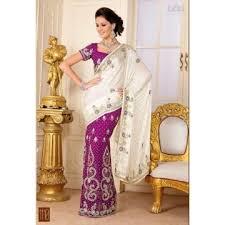 sari mariage lehenga sari haut de gamme pour mariage violet et blanc