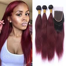black hair weave part in the middle ombre straight wine red hair 3 bundles with lace closure free