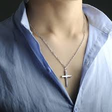 blue sterling silver necklace images Blue sweet couples necklaces cylinder cross pendant for men or jpg