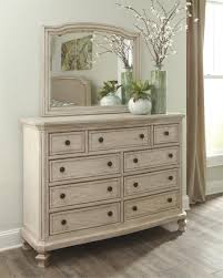 White And Mirrored Bedroom Furniture Demarlos Bedroom Mirror By Millennium
