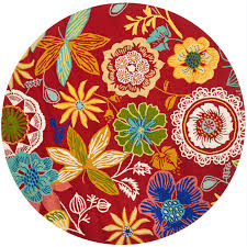 Round Red Rugs Shop Safavieh Four Seasons Round Red Floral Indoor Outdoor Woven